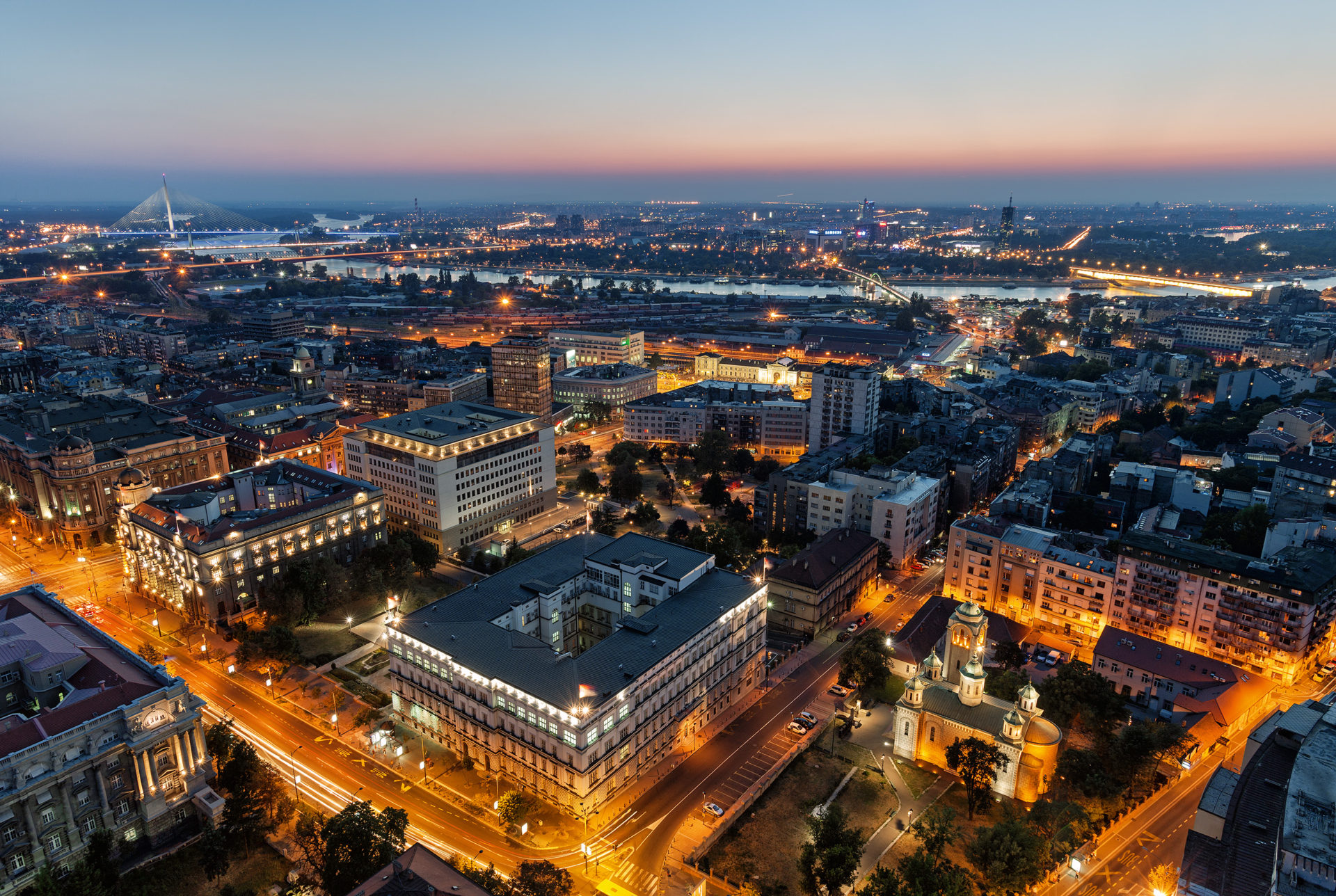 Belgrade at night view